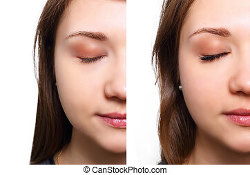 Eyelash Extension. Comparison of female eyes before and...