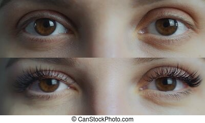 Eyelash Extension. Comparison of female eyes before and ...