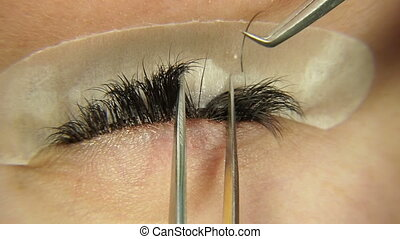 Eyelash extension. Macro photography