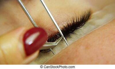 Eyelash extension. Macro photography