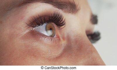 Eyelash Extension Procedure. Close up view of beautiful ...
