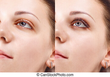 Eyelash Extension Procedure. Comparison of female eyes...