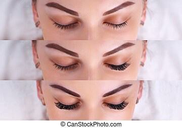 Eyelash Extension Procedure. Comparison of female eyes...