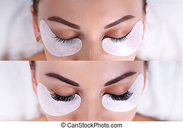 Eyelash Extension Procedure. Female eyes before and after. -...