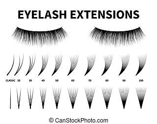 Eyelash extensions. Curling extension volume eyelashes, tweezer tool guide fake lash. Artificial lashes template makeup, vector makeup accessories design