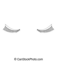 Eyelash icon black color illustration flat style simple...