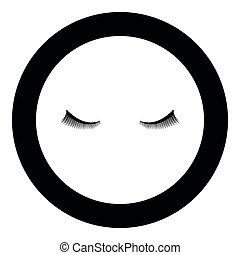 Eyelash icon black color in circle round vector illustration