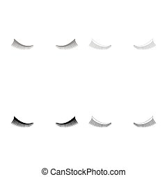 Eyelash icon set grey black color outline