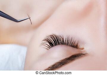 eyelashes., まつげ, 激しく打つ, 長い間, extension., 選ばれる, の上, 目, 女, 終わり...