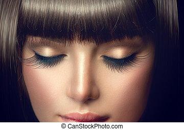 eyelashes, beauty, makeup, lang, portrait., professioneel, meisje