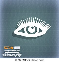eyelashes icon. On the blue-green abstract background with shadow and space for your text. Vector