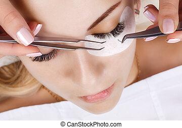 eyelashes., procedure., マクロ, 拡張, まつげ, 激しく打つ, 長い間, 精選する, の上, 目, 女, 終わり, 焦点を合わせなさい。