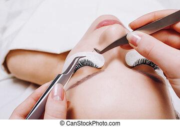 eyelashes., procedure., 精選する, 拡張, まつげ, 長い間, の上, 目, 女, 終わり, 焦点を合わせなさい。