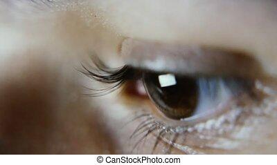 eyelashes, surfing, oog, lang, analyzing, vrouwlijk,...