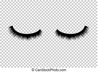 Eyelashes vector beauty makeup. Long eye fashion. Female...
