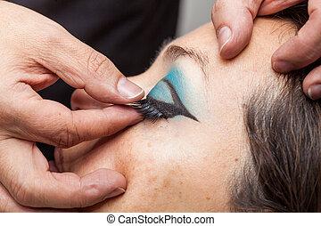 eyelashes, vrouw, aan het dienen, kunstenaar, makeup, op einde, vals