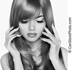 eyeleshas, mujer, belleza, largo, moda, portrait., makeup., hair., blac