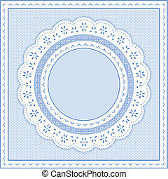 Eyelet lace doily round picture frame on pastel blue polka dot background. Copy space for pictures and text. For albums, scrapbooks, birthdays, weddings, baby books. EPS8 compatible.