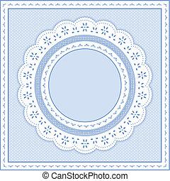 Eyelet Lace Frame, Pastel Blue - Eyelet lace doily round...