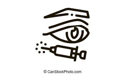 eyelid surgery anesthesia Icon Animation. black eyelid surgery anesthesia animated icon on white background