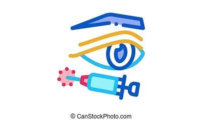 eyelid surgery anesthesia Icon Animation. color eyelid surgery anesthesia animated icon on white background