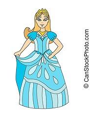 eyes., 長い間, かわいい, 王冠, 若い 女の子, 王女, イラスト, 女王, dress., 青い髪, crown., ベクトル, シック, curtsy., ブロンド