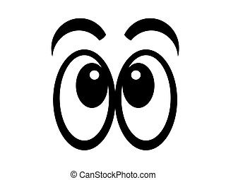 Eyes 2 - Illustration of black and white cartoon eyes