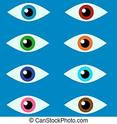 Eyes 8 colors on a blue background - vector illustration