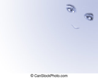 Eyes abstract stumped on blue background