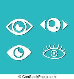 Eyes and eye icon set vector collection.