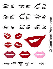 Eyes and lips of the person. A vector illustration