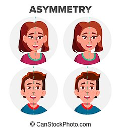 Eyes Asymmetry Of Character Man And Girl Vector. Young Boy ...