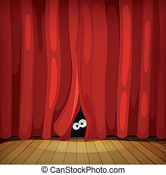 Eyes Behind Red Curtains On Wood Stage - Illustration of...