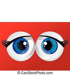 eyes, bol staand, hypertrophied, gelul, reusachtig