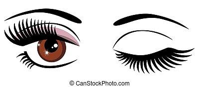 Eyes - vector brown eyes winking