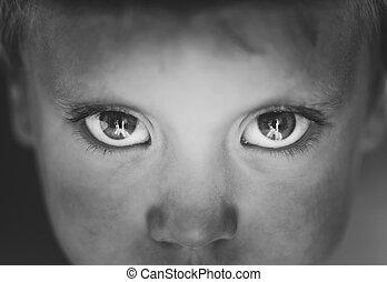 Eyes close-up little boy