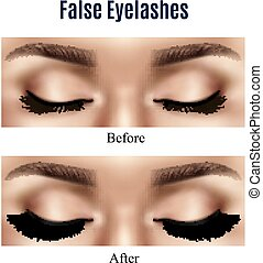 Eyes False Lashes Realistic Illustration - Realistic closed...