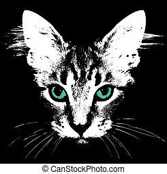 eyes., fej, vektor, zöld macska