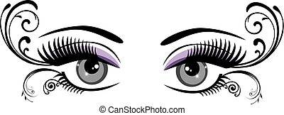eyes floral - vector vintage eyes with long lashes