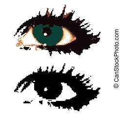 eyes., frau, vektor, pixelated