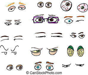 Eyes I - Set of 15 various forward-angle human and fantasy...