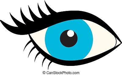Eyes icon. Blue female eye with eyelashes isolated on white background. Flat style logo. Vector illustration for beauty salons, cosmetic shops, makeup artists etc.