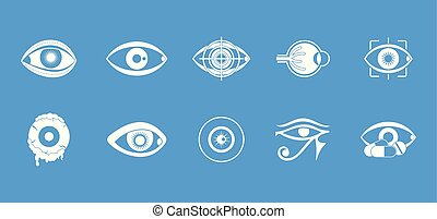 Eyes icon blue set vector