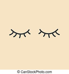 eyes., icon., vector, eyelashes., gesloten