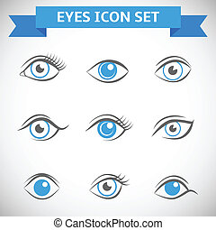 Eyes Icons Set - Decorative human look vision optic eyes set...