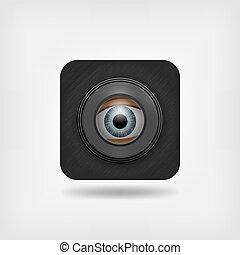 eyes in spy hole. peeping man. vector illustration - eps 10
