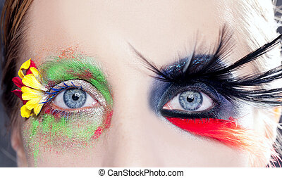 eyes, lente, makeup, fantasie, black , asymmetrisch, vogel
