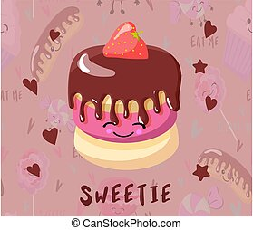 eyes, lovers., icing., karakter, chocolade, postkaart, taart, cupcake, smile., dag