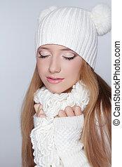 Eyes makeup. Beauty Model Winter Girl Portrait . Beautiful Woman Face.