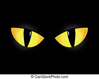 Eyes of a black cat on a black background. Abstract...